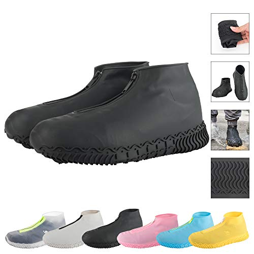 LEGELITE Reusable Silicone Waterproof Shoe Covers with Zipper No Large Clear