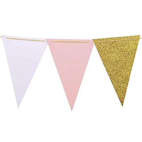 Demarkt Happy Birthday slinger vlag voor verjaardagsdecoraties van papier 14.5*12cm roze
