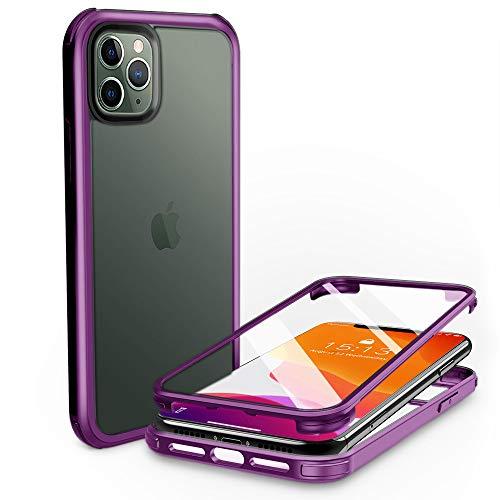 PHONEAURA Carcasa de cristal para iPhone 11 Pro (protección completa, protección completa, doble cara), color morado