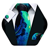 Barry.Wang Mens Novelty Silk Tie Blue Green Black silk Pattern Necktie Handkerchief Cufflinks for Dress Party