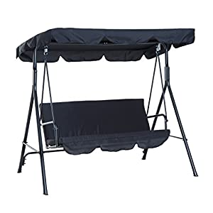 Outsunny 3 Seater Canopy Swing Chair - 200 kg Weight Capacity - Black