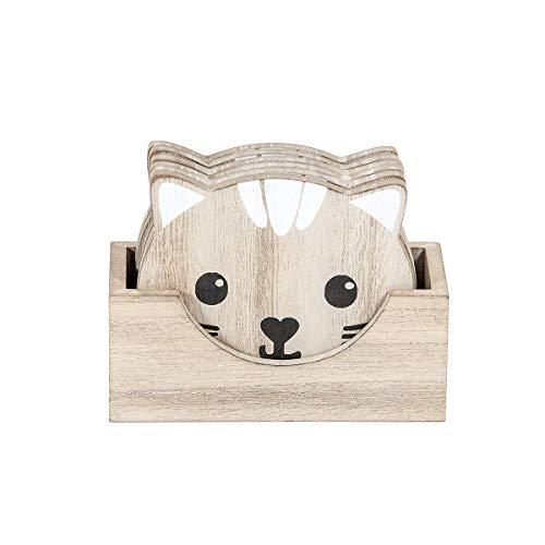 Tasse Holz 12 cm für Tassen Becher Gläser, 6er Set Katze Deko Katzen Accessoires und Geschenk für Katzenliebhaber Katzenbesitzer