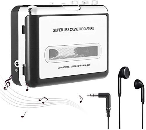 Magnétophone Portable et Cassette Audio, Walkman et convertisseur de Cassette Audio en fichiers MP3 numériques Via USB, Mac et Windows Compatible - Gris argenté