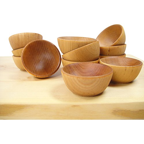 Mini Wooden Pinch Bowls, Prep Bowls, Condiment Cups, Set of 6