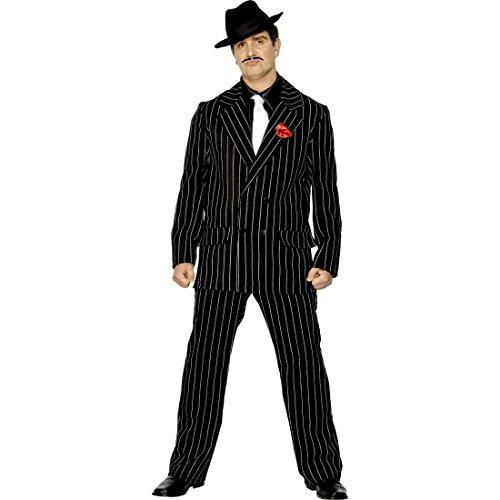 NET TOYS 20er Jahre Gangsterkostüm Mafia Kostüm schwarz L 52/54 Mafioso Outfit Gangster Kostüm Nadelstreifen Anzug