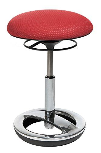 Topstar Sitness Bob, ergonomischer Sitzhocker, Arbeitshocker, Bürohocker mit Schwingeffekt, Sitzhöhenverstellung, Standfußring Alu, poliert, Stoffbezug, rot