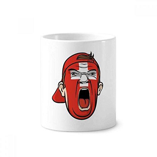 Flagge Schweiz Gesichts-Make-up Screaming Gap Keramik Zahnbürste Stifthalter Becher weiß Tasse 350ml Geschenk