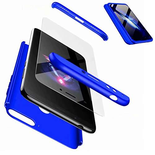 JJWYD Funda para Huawei Honor 7A/Y6 2018 + Gratis Cristal Templado, para Huawei Honor 7A/Y6 2018 Prime Funda 3 in 1 Hard Caja Caso PC Protective Ultra Delgado Anti-rasguños Case Caso - Azul