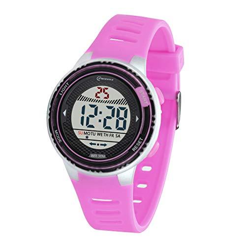 Kinder Digitaluhr, Funktionelle wasserdichte Jungenuhr Mädchen mit Zeit, Datum, Woche, Hintergrundbeleuchtung, Warnung, Stoppuhr Digital Uhr für Kinder (Lila 8563)