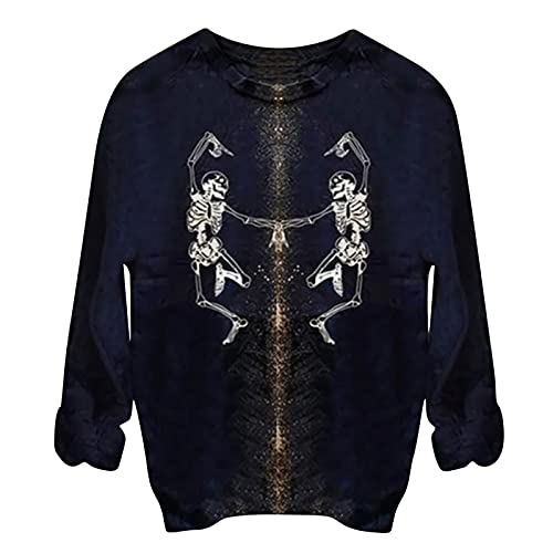 Womens Halloween Costumes Tops Tie Dye Skeleton Sweater Sweatshirt Casual Blouse Shirts Long Sleeve Pullover Tunic Black