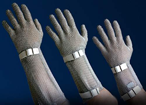 Stechschutz-Kettenhandschuh mit oder ohne Stulpe, Metzgerhandschuhe mit auswechselbarem Kunststoffverschlussband, Größe:XL - 8 cm Stulpe