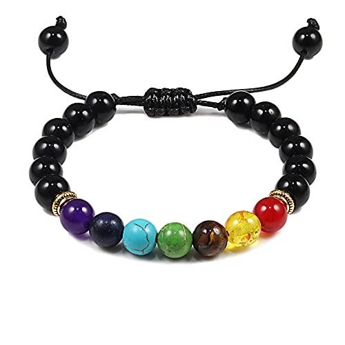 Pulsera de piedra de lava natural, pulseras de cuentas multicolores para hombres, mujeres, brazaletes de cuerda tejida, joyería ajustable para hombre, negro brillante