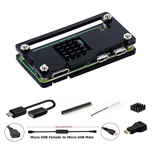 GeeekPi per Raspberry Pi Zero/Zero W Case, Raspberry Pi Zero Starter Kit con Custodia in Acrilico, 20Pin GPIO Header, OTG Cable, Switch Cable, Adattatore HDMI, dissipatore e cacciavite (Nero)