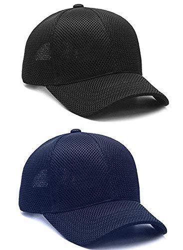 Dryon Unisex Net Baseball Adjustable Cap Pack of 2 (Black & Navy Blue)