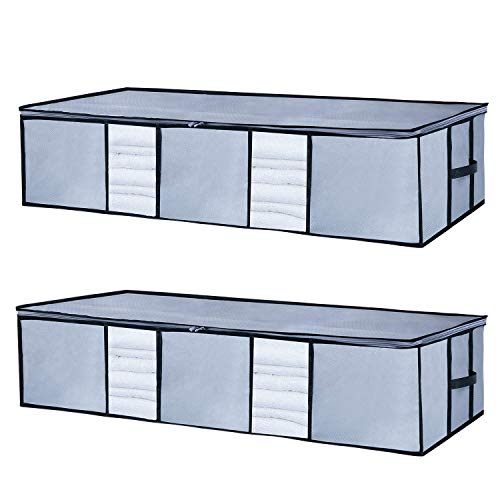 Seckon - Bolsa de almacenamiento para debajo de la cama, Gris, Large