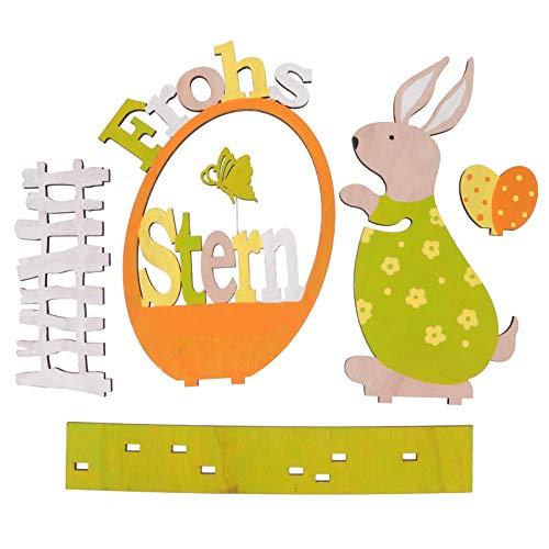 Kisangel Decoraciones de Madera de Pascua Conejo de Madera Ornamento de Huevo Frohs Signo de La Mesa Artesanías Rústicas Centro de Mesa para La Decoración de La Oficina en Casa Muebles