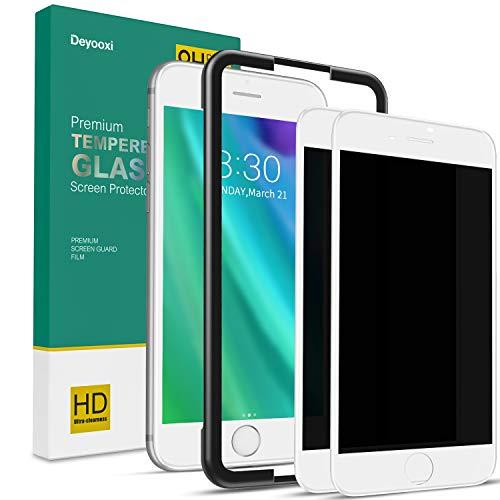 Deyooxi 2 Stück Panzerglas Sichtschutz für iPhone 7 Plus/iPhone 8 Plus,3D Full Screen Glas Blickschutzfolie mit Positionierhilfe,Privacy Panzerglasfolie Schutzfolie,Anti-Spy Displayschutz Folie,Weiß