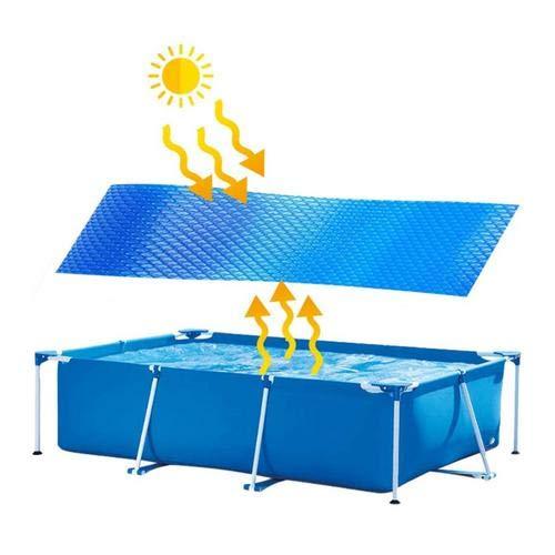 asterisknewly Cubierta Solar Ovalada/Rectangular Azul de 4 pies por 15 pies | Manta de Lona Solar térmica para Piscinas enterradas y elevadas | Use el Sol para Calentar el Agua de la Piscina
