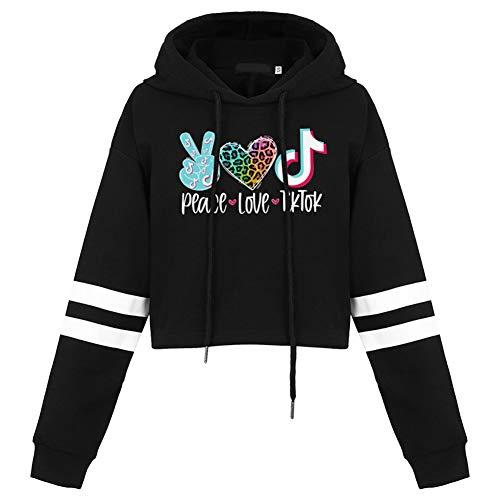 lady bug Unisex Kinder Fashion Print Crop Hoodie Peace Love Graphic Sweatshirt Langarm Tops Gr. 130 cm, Schwarz, leger