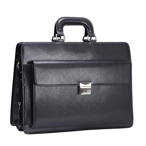 Ronts Leather Briefcase for Men 15.6 Inch Laptop Business Bag Attache Case with Lock Lawyer Work Bag Black