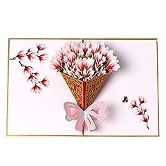 Idea Regalo - Biglietto di auguri pop-up 3D con bouquet di fiori, biglietto di ringraziamento, per compleanni, festa della mamma, biglietto di anniversario, biglietto di Natale