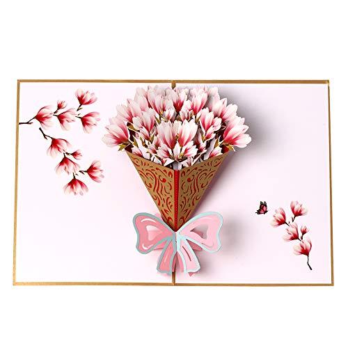 Biglietto di auguri pop-up 3D con bouquet di fiori, biglietto di ringraziamento, per compleanni, festa della mamma, biglietto di anniversario, biglietto di Natale