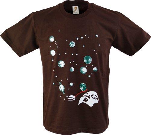 GURU SHOP Fun T-Shirt, Herren, Weltraum Blase, Baumwolle, Size:L, Rundhals Kurzarm Shirt Alternative Bekleidung