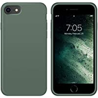OUXUL Full Body Slim Soft Microfiber Lining Liquid Silicone Gel Rubber Case for iPhone SE 2020 (Forest Green)