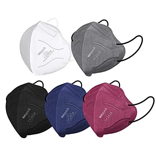 Wawech Bunte FFP2 Masken 30 Stück farbig Mund und Nasenschutz Maske, 5-lagige Atemschutzmaske mit hoher Filtration,einzeln verpackte Einwegmaske