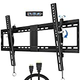 JUSTSTONE Tilt TV Wall Mount Bracket for 40-90 Inches LED, Plasma Flat Screen Curved TVs, TV Mount with VESA 800x400mm, Fits 16', 24' Studs and Loading Capacity 165 lbs, Low Profile and Space Save