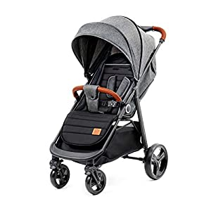 Kinderkraft Lightweight Stroller Grande, Stylish Pushchair, Baby Buggy, Foldable, Lying Position, Big Ajustable Hood, with Accessories, Rain Cover, Footmuff, from Birth to 3.5 Years, 0-15 kg, Gray   1
