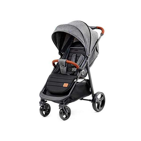 Kinderkraft Lightweight Stroller Grande, Stylish Pushchair, Baby Buggy, Foldable, Lying Position, Big Ajustable Hood, with Accessories, Rain Cover, Footmuff, from Birth to 3.5 Years, 0-15 kg, Gray kk KinderKraft BIG, ADJUSTMENT HOOD - Very large sun/wind shade, which may be extended by using the zip fastener COMFORT AND CONVENIENCE - Wide seat providing comfort and ensuring a long period of using the pushchair EASY HANDLING - Front swivel wheels provide easy manoeuvring, they may be locked for the straight-ahead drive. All four wheels with bearings and shock absorbers 1
