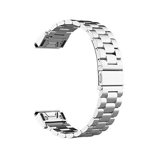 G-RF Bandas De Repuesto 26mm 22mm 20mm para Garmin Reloj Universales Pulseras Metal Tres Cuentas Liberación Rápida (26mm,Plata)