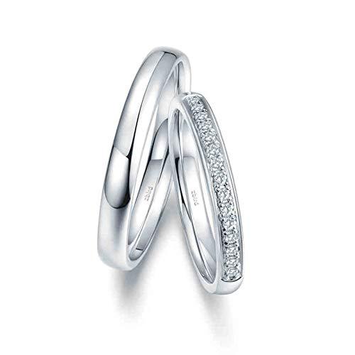 Bishilin Anillo de Compromiso de 2 Piezas para Ella 18K Oro Blanco Mujer Talla 23,5 & Hombre Talla 21 Pulido Simple y Elegante Blanco Diamante Anillos de Bandas de Boda para Socios Plata