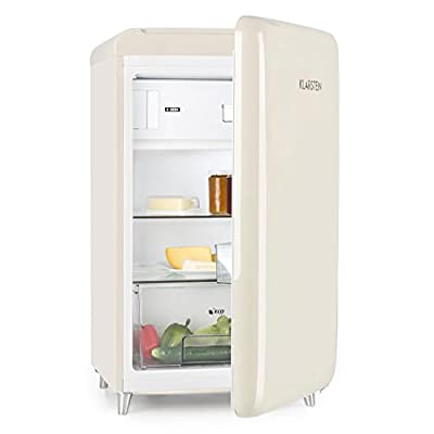 Klarstein PopArt Cream - Retro 1950s Refrigerator, Fridge, Cooler, Class A++, 108 Litre Capacity, 13 Litre Freezer Compartment, Adjustable Temperature, 2 Shelves, Cream