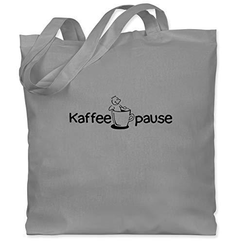 Shirtracer Küche - Kaffeepause - Unisize - Hellgrau - Kaffee - WM101 - Stoffbeutel aus Baumwolle Jutebeutel lange Henkel