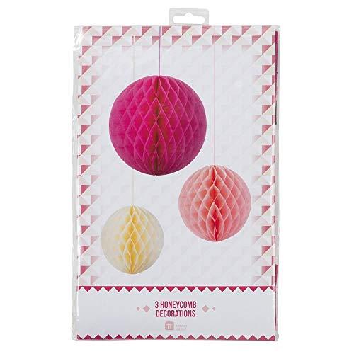 Talking Tables Honeycomb Blossom Décadent Decs Rose foncé/Orange/jaune 1,70 x 20 x 32 cm 3 Pièces