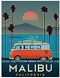 XYYCZ Pintura Moderna Vintage Malibu Sunset Print Photo Poster Obra de Arte Decoración para el hogar50x70cm sin Marco
