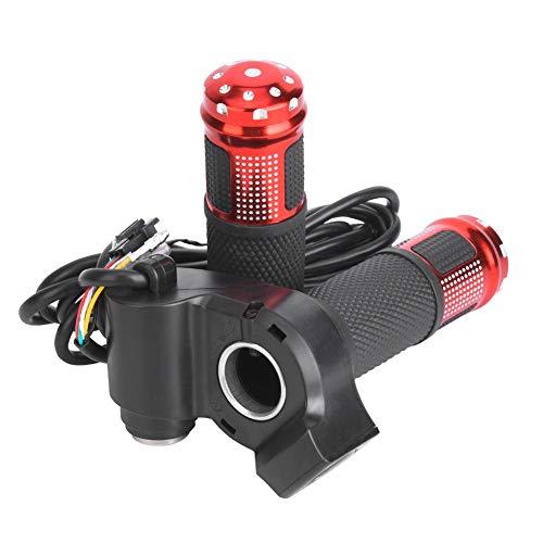 1 paar E-bike handgreep met duimgas, universele LED-spanningsweergave torsie-gashendel voor 12-99V e-bike scooter default rood