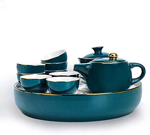 Afternoon Tea Coffee Tea Set Coffee Set, 11 Kung Fu Tea Set Set Home Decoration Gifts can be Used in Home Office Tea Room Home and Garden garden-24x5.2cm_Green