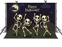 HDハッピーハロウィン背景漫画頭蓋骨ハロウィーンテーマパーティー写真背景写真ブース小道具7x5ft DSFU077