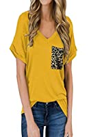 Tootess Womens Relaxed Rolled Cuff V Neck Weekend Fashional Short-Sleeve T Shirt 6 S
