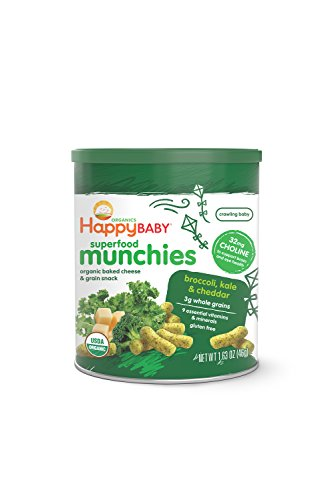 Happy Baby Organic Superfood Munchies Baked Cheese & Grain Snacks Broccoli Kale & Cheddar Cheese, 1.63 Ounce Canister (Pack of 6) Gluten Free Crunchy Snack Dissolves Easily Encourages Self Feeding
