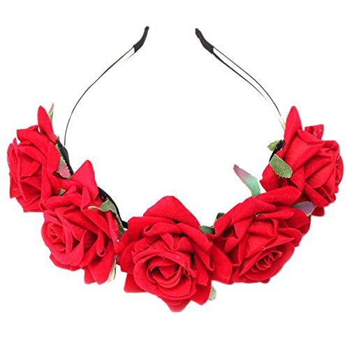EJY Femmes Fille Fleur Serre Tête Accessoire Bandeau Cheveux Mariage Cérémonie Plage Voyage Couronne de Fleur Tête Garland (Rouge)
