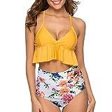 Damen Zweiteilige Bikini Set Ruffles tiefer V-Ausschnitt Badeanzug High Waist Bikini Bottom Bedruckt Sexy Halter weichem einzigartig bademode Strandparty Schwimmen Laufen Strandmode...