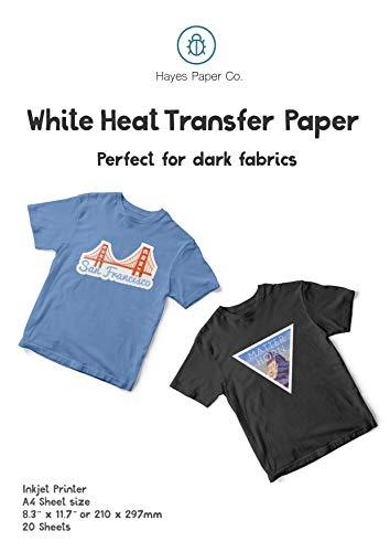 Hayes Paper Co. Papel De Transferencia Térmica Para Camisetas y Tejidos Oscuros, para impresora de inyección de tinta, 20 Hojas. A4