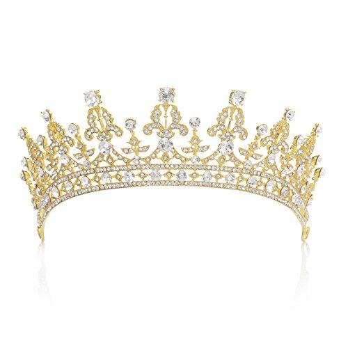 un accessoire de cheveux pour la mari/ée ou pour les concours de beaut/é Couronne royale orn/ée de zircon cubique cristal fabriqu/é par SWEETV pour femme Argent