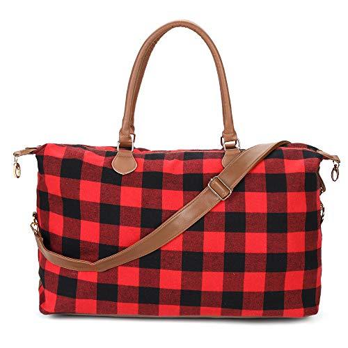 Monogrammierte Weekender Reisetaschen für Damen, Buffalo Plaid (rot) (Rot) - Red Buffalo Plaid