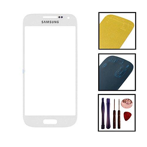 Reparatur Set Samsung i9190 i9195 Galaxy S4 mini Front Glas Touchscreen Weiß mit Kleber und Werkzeug (Artikelstandort Deutschland)
