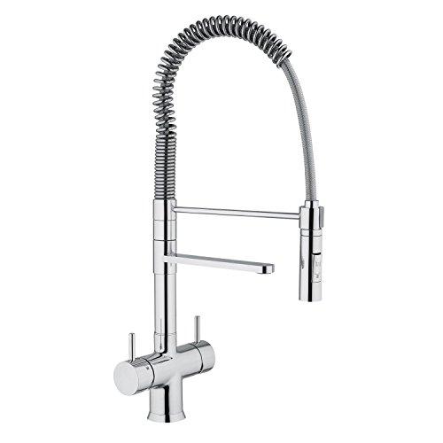 5-vie-rubinetto LUXURY spiral penna acqua gallo cromo con una doccia per legno freddo, acqua calda non trattato cavo e 3 ulteriori acqua varietà ad esempio still, in ogni momento e con anidride carbonica.